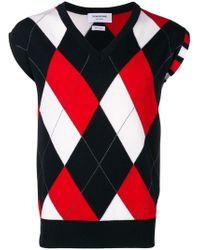 Thom Browne Пуловер С V-образным Вырезом В Ромбик - Красный