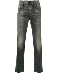R13 Stonewashed Slim Fit Jeans - Gray