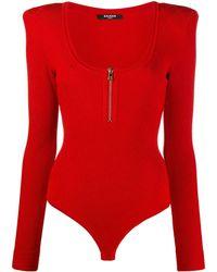 Balmain Трикотажное Боди С U-образным Вырезом - Красный
