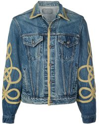 R13 Gold Piped Denim Jacket - Blue