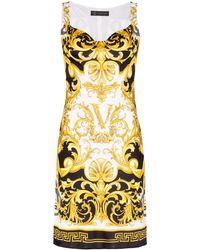 Versace プリント ミニドレス - ブラック
