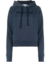 Helmut Lang Logo-embroidered Hooded Sweatshirt - Blue