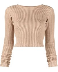 Styland Cropped Ribbed Knit Top - Brown
