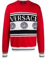 Versace Intarsia Gebreide Trui - Rood
