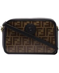 Fendi Brown And Black Ff Camera Leather Cross Body Bag