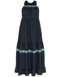 Mira Mikati Stripe Detail Tiered Maxi Dress - Blue