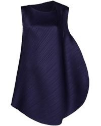 Pleats Please Issey Miyake Leaf Spice ドレス - ブルー