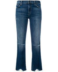J Brand Cropped distressed jeans - Blu