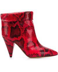 "Isabel Marant 90mm Stiefel Aus Leder Mit Pythondruck ""lisbo"" - Rot"