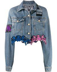 Versace Jeans Couture レースヘム デニムジャケット - ブルー