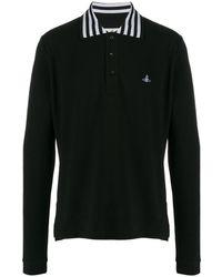 Vivienne Westwood エンブロイダリー ポロシャツ - ブラック