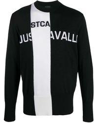 Just Cavalli Intarsia Knit Crew Neck Sweater - Black