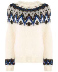 Coohem Fair Isle Textured Sweater - White