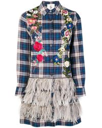 Caban Romantic - Floral Embroidered Plaid Shirt - Lyst