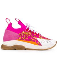Versace Barocco Print Low-top Sneakers - Pink