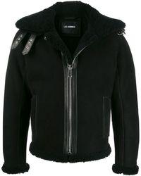 Les Hommes Shearling Aviator Jacket - Black