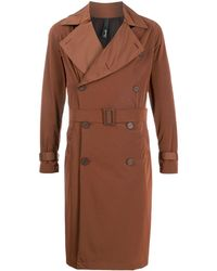 Hevò Double-breasted Belted Trench Coat - Brown