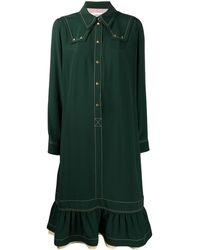 Lanvin Robe-chemise à design froncé - Vert