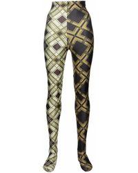 Chopova Lowena Collants colour block à losanges - Vert