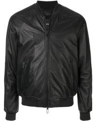 Emporio Armani Faux Leather Bomber Jacket - Blue