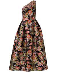 Andrew Gn Robe longue à fleurs en jacquard - Noir