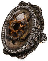 Sevan Biçakci 24k Gold Diamond And Quartz Ring - Brown