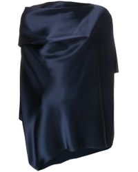 Gianluca Capannolo - Draped Satin Slash Neck Blouse - Lyst