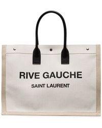Saint Laurent Off-white And Tan Rive Gauche Noe Tote - Multicolour