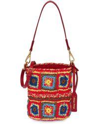 Miu Miu Crochet Bucket Bag - Red
