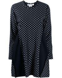 Comme des Garçons Pleated Polka Dot Mini Dress - Blue