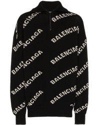 Balenciaga Jersey con logo en jacquard - Negro