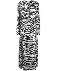 The Attico Zebra-print Satin-crepe Maxi Wrap Dress - Black