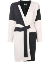 Hemisphere - Colour Block Belted Cardigan - Lyst