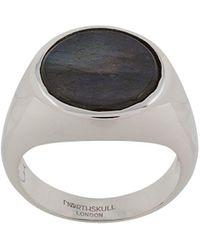 Northskull Pinky-Ring mit Labradorit - Mettallic