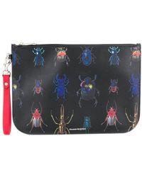 Alexander McQueen Beetle Printed Pouch - Black