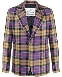 Vivienne Westwood チェック シングルジャケット - パープル
