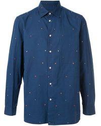 Loveless Embroidered hearts shirt - Blu