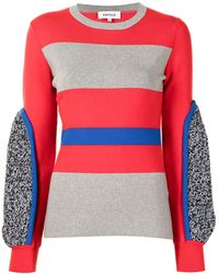 Enfold Colour-block Jumper - Red