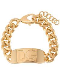 Dolce & Gabbana Цепочный Браслет С Гравировкой Логотипа - Металлик