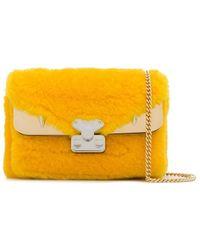 Fendi Bag Bugs Lamb-fur Shoulder Bag - Yellow