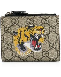 f4be3b05e49 Lyst - Gucci GG Supreme Embroidered Tiger Billfold Wallet in Natural ...