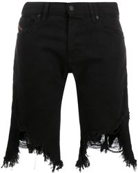 DIESEL Distressed Denim Shorts - Black