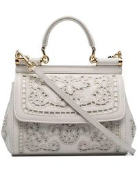68773318e5 Dolce   Gabbana - White Sicily Mini Flower Embroidered Leather Shoulder Bag  - Lyst