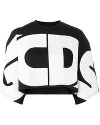 Gcds Top crop à logo oversize - Noir