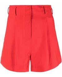 Racil Short taille-haute à plis - Rouge