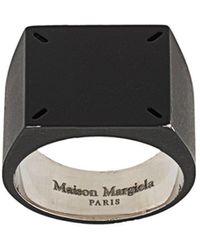 Maison Margiela Siegelring mit vier Nähten - Schwarz