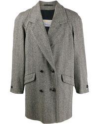 Aquascutum 1980s Herringbone Coat - Gray