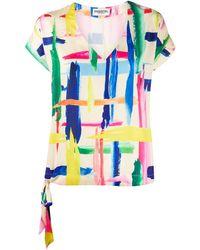 Essentiel Antwerp Veda Brush Stroke Print Top - Pink