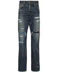 Visvim X Browns 50 jean Social Sculpture à effet usé - Bleu
