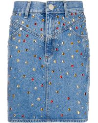 Sandro Rubyn Stud-embellished Denim Skirt - Blue